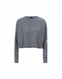 PATHOS: Grey marl frill sweater