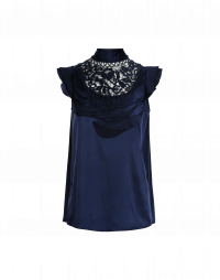 EVOKE: High neck top in navy silk with