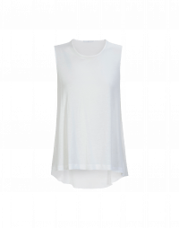 WAIF: Sleeveless tank in white rayon and silk satin
