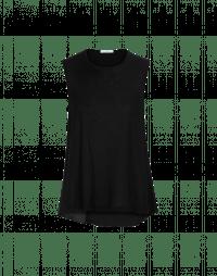 WAIF: Sleeveless tank in black rayon and silk satin
