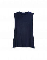 WAIF: Top a canotta in raso di seta e rayon blu navy