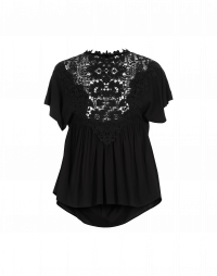 JOYOUS: Rayon top with crochet lace front