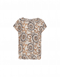REQUEST: Cream printed silk cap sleeve tee
