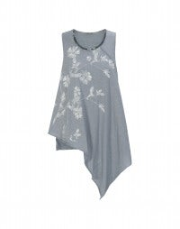 SLIP: Asymmetric navy and white stripe and florals tank