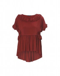 DELICATE: Red rayon boat neck top