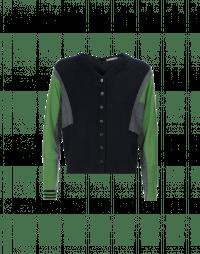 GEOMETRIC: Navy, grey and green colour block cardigan