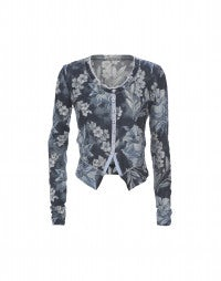 TIDY: Blue floral cropped cardigan jacket