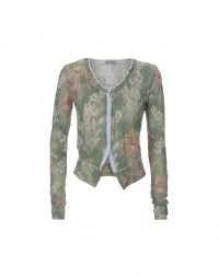 TIDY: Green floral cropped cardigan jacket