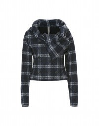 SHAMAL: Blue and grey check cropped jacket