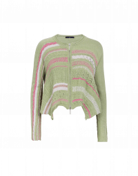 EVALUATE: Pale green, pink and ecru cotton knit cardigan