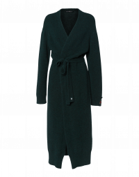 PLUMMET: Long cardigan in winter green alpaca and wool mix