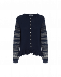 FOLK: Peplum cardigan sweater in navy, taupe and cream