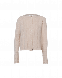 COINCIDENT: Cream cashmere cardigan with multiple patterns