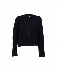COINCIDENT: Navy cashmere cardigan with multiple patterns