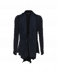 INTERVAL: Long sleeve cardigan in wool jersey with cupro panels