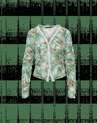 PROPOSAL: Green and orange floral printed jersey cardigan