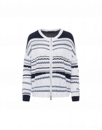 DISTINCTION: Cardigan in white and navy multi-stitch and stripe