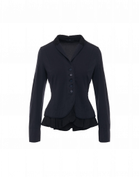 IN-THE-MOMENT: Navy shawl collar jacket in jersey and cupro