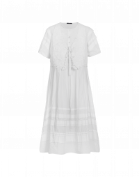 ENCHANTED: White short sleeve dress with gilet
