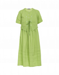 ENCHANTED: Green short sleeve dress with gilet