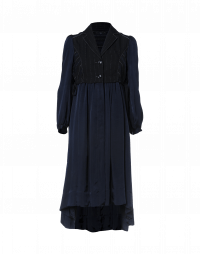 EXULT: Navy pinstripe and cupro dress