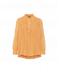 TIMELESS: Stand collar ruffle front shirt in apricot