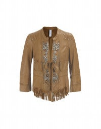 STYX: Chestnut diamante front tassel leather jacket