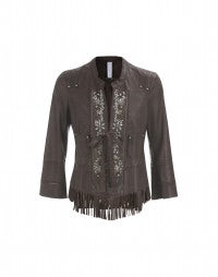 STYX: Dark brown diamante front tassel leather jacket
