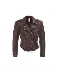 HARLEY: Bordeaux leather cropped moto jacket