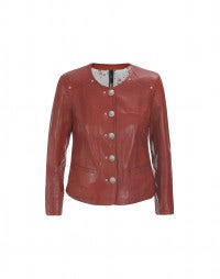 NONSTOP: Terracotta leather jacket
