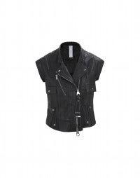 ROWDY: Black leather biker gilet