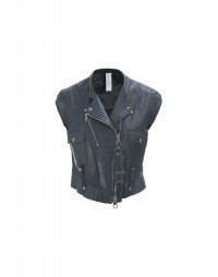 ROWDY: Dark blue leather biker gilet