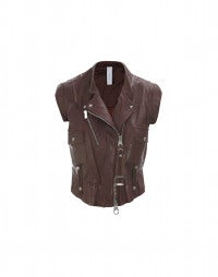 ROWDY: Bordeaux leather biker gilet