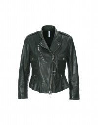 TRIUMPH: Forest green leather jacket