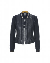 DUEL: Navy leather and wool jacket