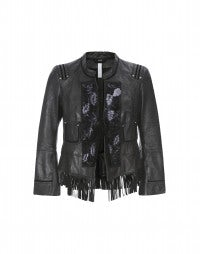 SHAMAN: Floral panel leather fringed jacket