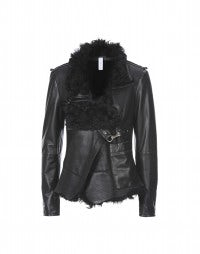 OUTRAGE: Black sheepskin jacket