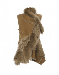 IN AWE OF: Gilet color caramello in pelliccia, shearling e pelle