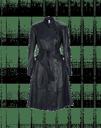 DRAMATIST: Cappotto navy in pelle con colletto in piedi