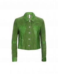 COVERT: Giacca verde in pelle e camoscio