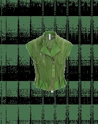 ROWDY: Gilet biker in pelle e camoscio verde