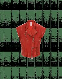 ROWDY: Gilet biker in pelle e camoscio rosso