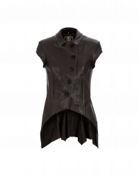 LITHE: Tan short sleeve leather jacket
