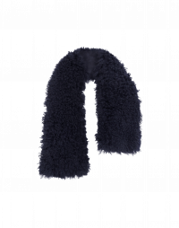 ALLURING: Luxury scarf in navy dyed curly shearling