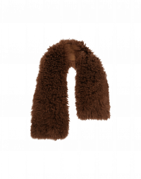ALLURING: Luxury scarf in cocoa dyed curly shearling