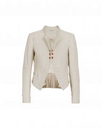 PROUD OF: Cream leather stand collar jacket
