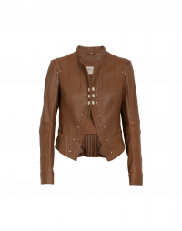 PROUD OF: Brown leather stand collar jacket