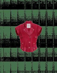 ROWDY: Gilet rosso in camoscio e pelle