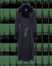 DASHING: Navy shearling coat