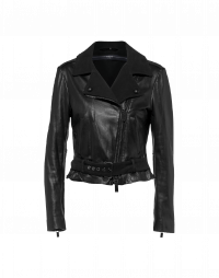 COHORT: Belted biker jacket in black leather and suede